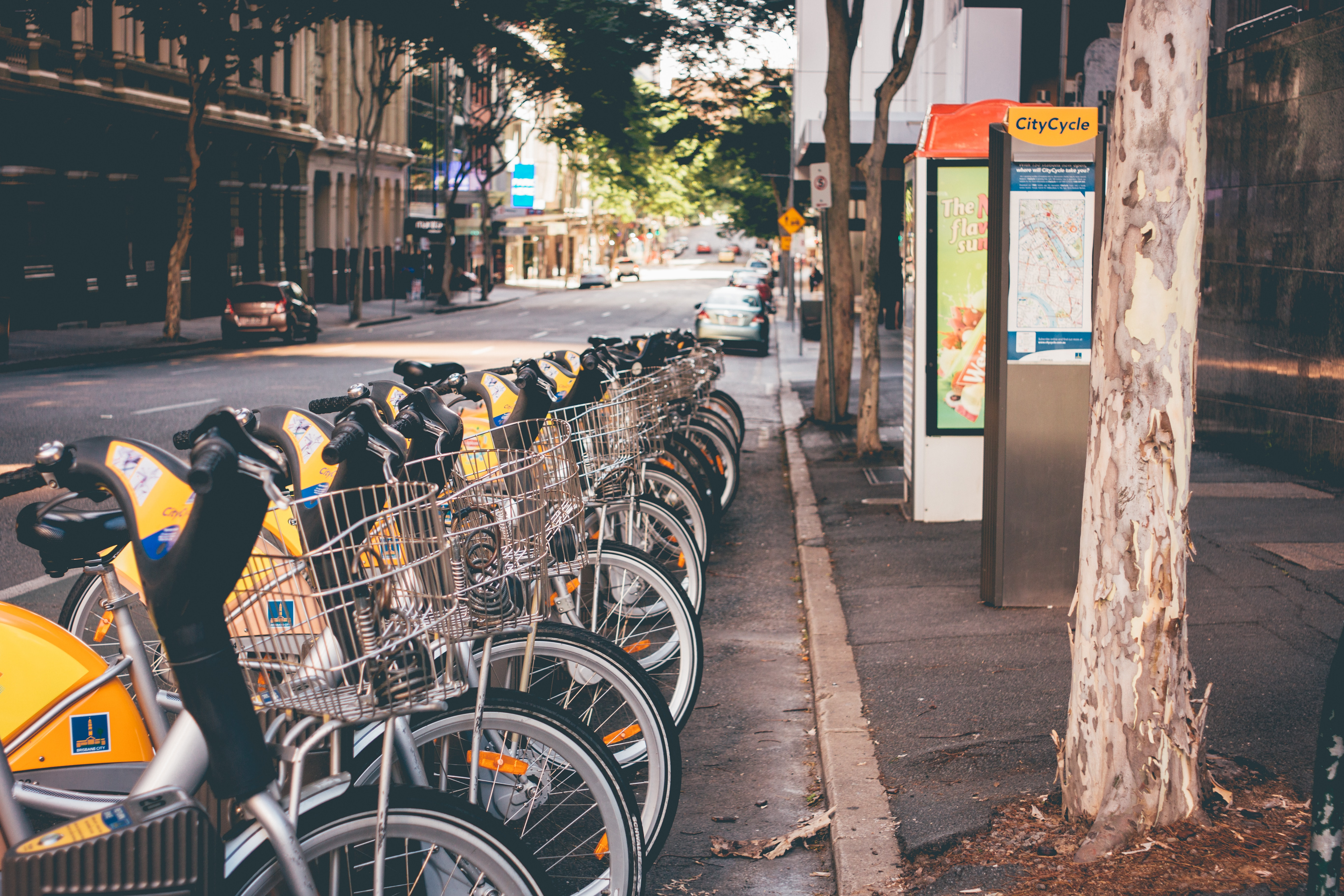 bicycles parked on street in a row