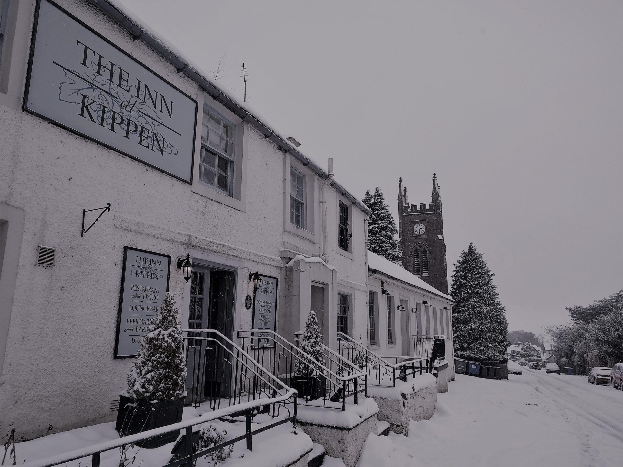 the Inn at Kippen in the snow