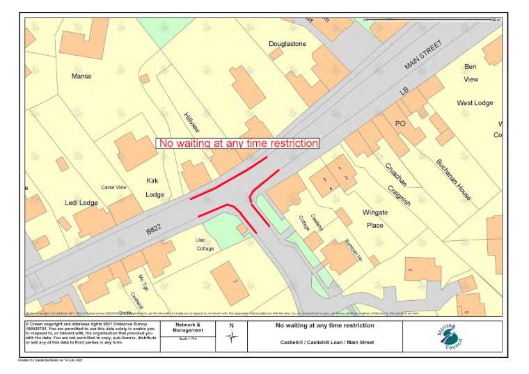 shows temporary parking restrictions in Kippen